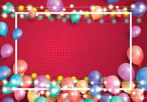 Cartão com balões, moldura branca e festão de néon. ilustração vetorial.