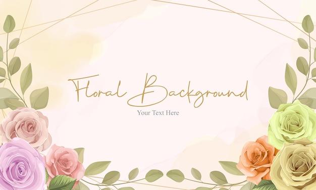 Cartão com bela moldura floral com design de cores suaves