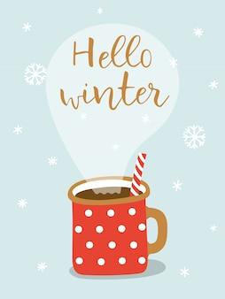 Cartão com cacau quente e rotulação olá inverno.