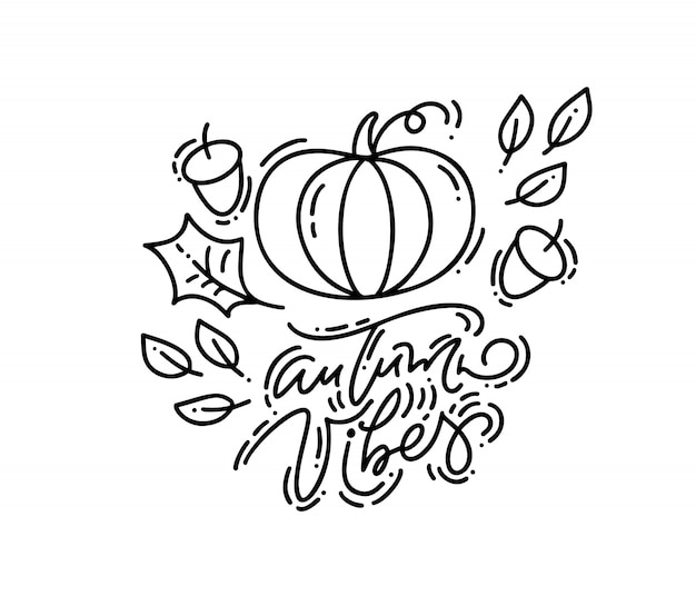 Cartão com caligrafia monoline autumn vibes text