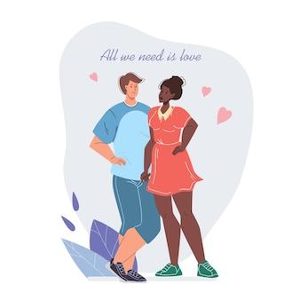 Cartão com casal apaixonado em seu encontro no dia dos namorados