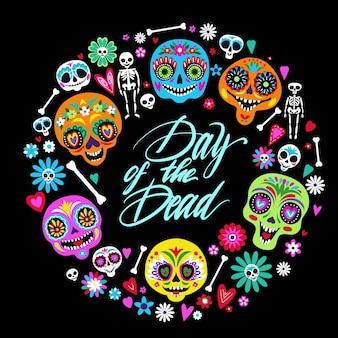 Cartão com caveiras de açúcar para o feriado tradicional de outono mexicano, dia dos mortos