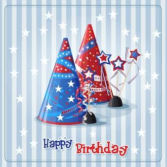 Cartão com chapéus de aniversário e confetes