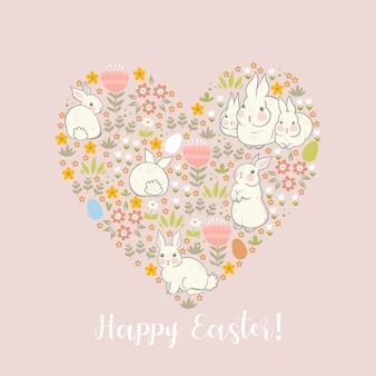 Cartão com coelhos e flores e a inscrição feliz páscoa.