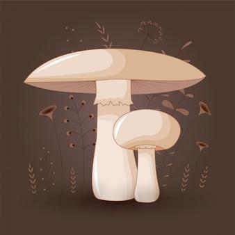 Cartão com cogumelos champignon em um fundo floral