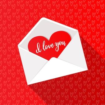Cartão com coração vermelho em envelope branco aberto. adorável reconhecimento dia dos namorados. ilustração plana com letras de mão