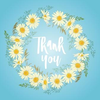 Cartão com coroa de flores de camomila