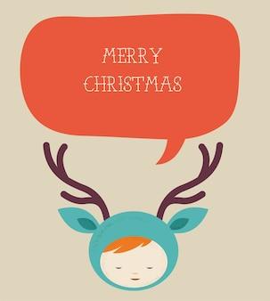 Cartão com criança bonita em uma fantasia de natal de veado com um balão de fala