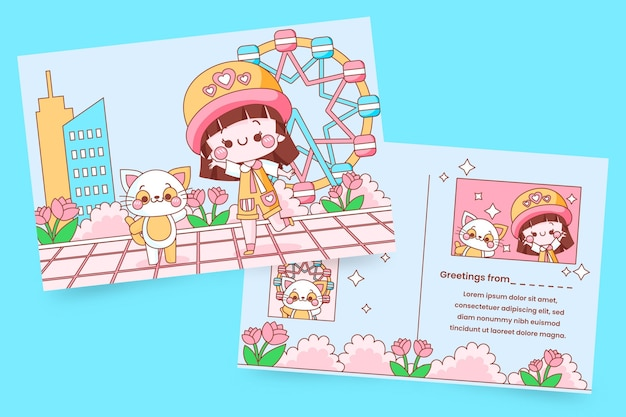 Cartão com criança kawaii e gatinho