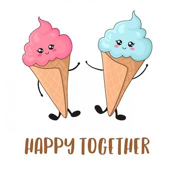 Cartão com cuple de kawaii rosa sorvetes com azul e rosa