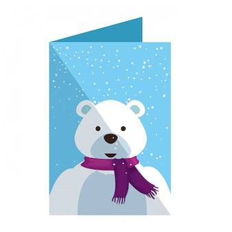 Cartão, com, cute, urso polar, natal