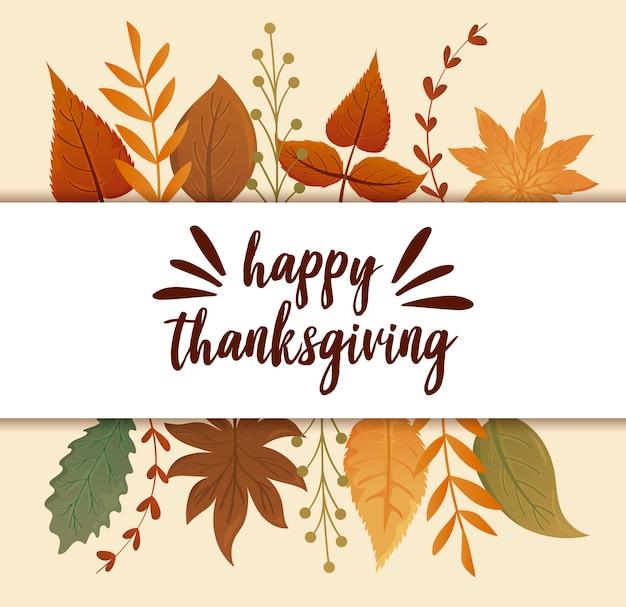 Cartão com etiqueta feliz ação de graças e folhas de outono