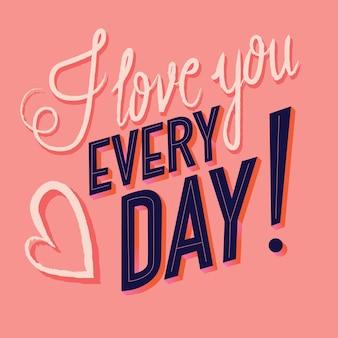 Cartão com feliz dia dos namorados mão lettering design. mão colorida ilustrações desenhadas com tipografia.