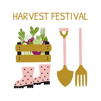 Cartão com ferramentas de jardinagem, festival da colheita.