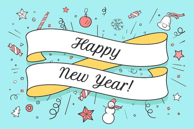 Cartão com fita vermelha e inscrição feliz ano novo no tema de natal. feliz ano novo e fundo colorido de natal.