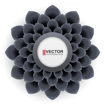Cartão com flor preta