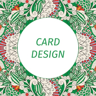 Cartão, com, floral, verde, padrão