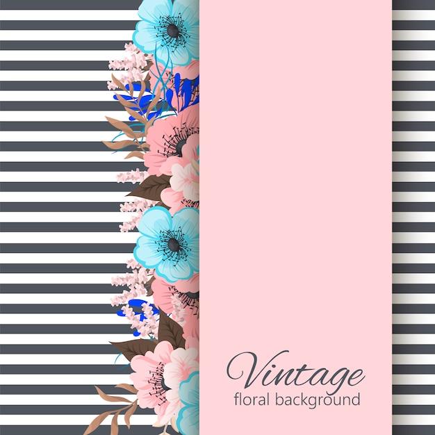 Cartão com flores, aquarela. quadro de vetor