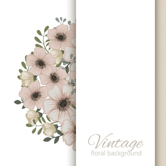 Cartão, com, flores, aquarela