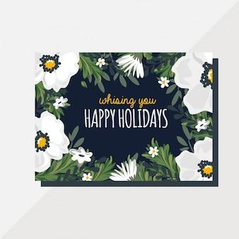 Cartão com flores brancas para o natal