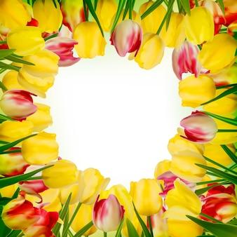 Cartão com flores coloridas.