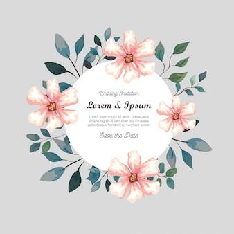 Cartão com flores, convite de casamento com flores, com decoração de galhos e folhas