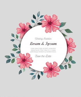 Cartão com flores cor de rosa, convite de casamento com flores cor de rosa com ramos e folhas de decoração
