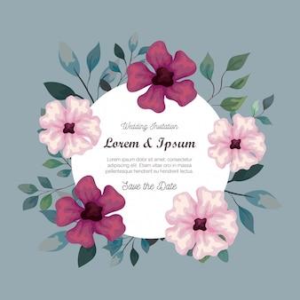 Cartão com flores cor de roxo e rosa, convite de casamento com flores cor de roxo e rosa, com decoração de galhos e folhas