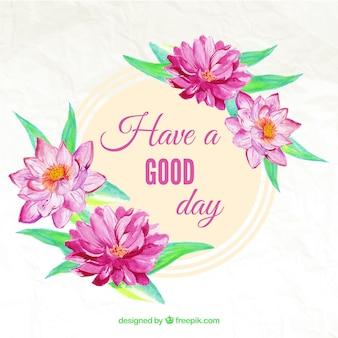 Cartão com flores da aguarela e mensagem bonito