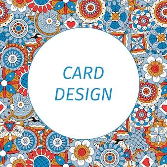 Cartão com flores de estilo mandala