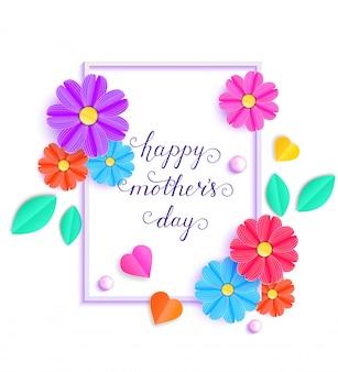 Cartão com flores de papel colorido e folhas