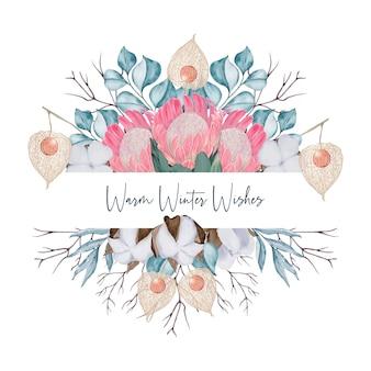 Cartão com flores e eucalipto