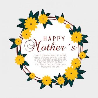 Cartão com flores e galhos para dia das mães