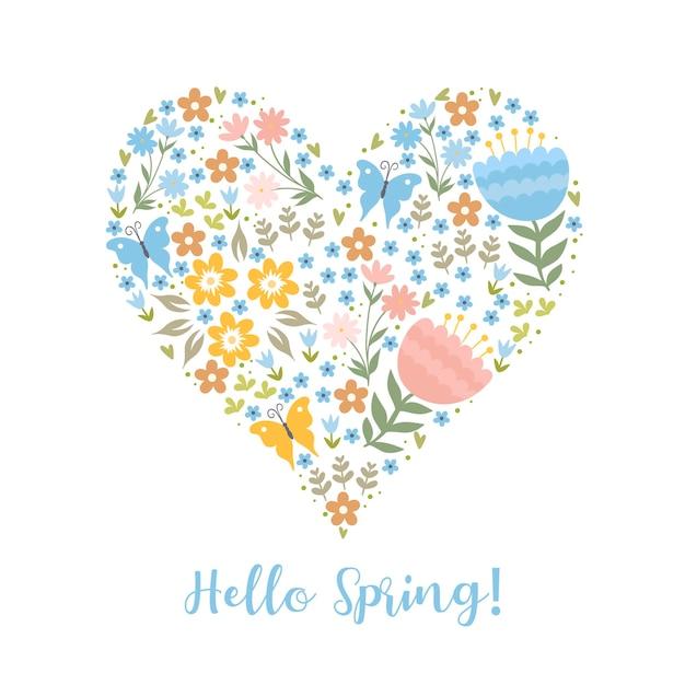 Cartão com flores em forma de coração e a inscrição olá primavera
