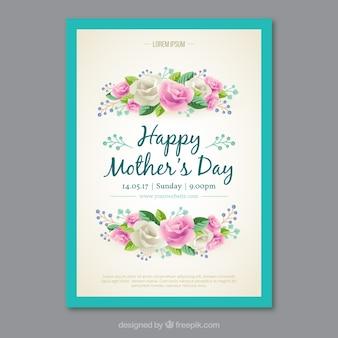 Cartão com flores realistas para o dia da mãe