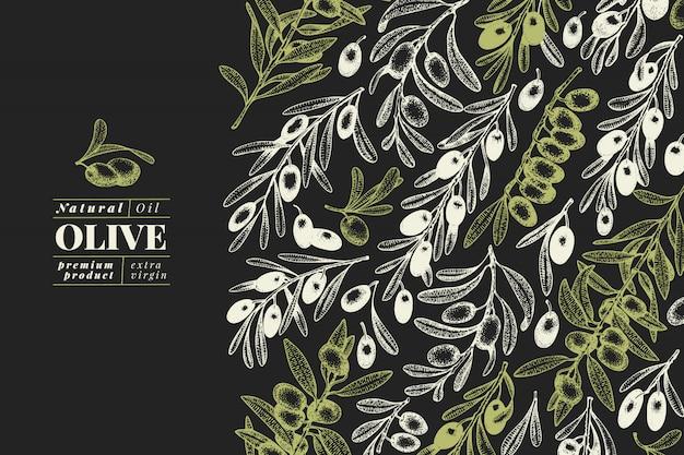 Cartão com folhas de oliveira