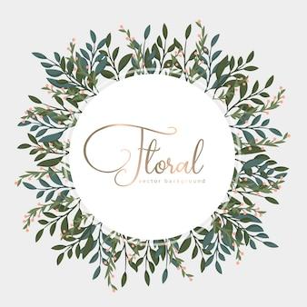 Cartão com folhas douradas, grinalda.