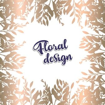 Cartão com folhas douradas