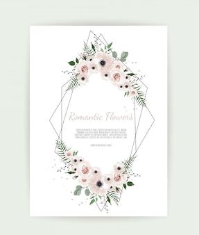 Cartão com folhas e moldura geométrica
