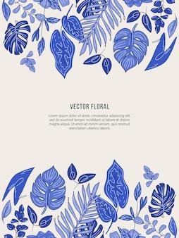 Cartão com folhas tropicais em estilo desenhado à mão.