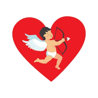 Cartão com formato de coração para o dia de valentin com uma ilustração de cupido fofa