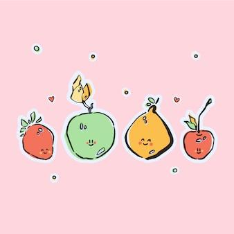 Cartão com frutas bonitos de kawaii coloridos desenhados à mão em vetor