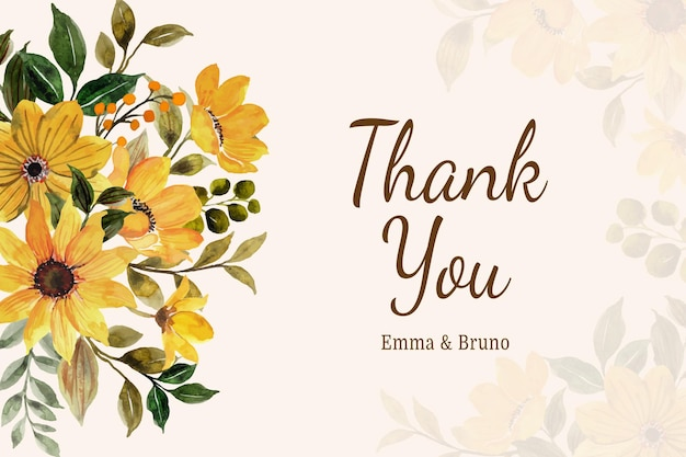 Cartão com fundo aquarela flor amarela