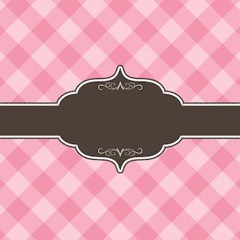 Cartão com fundo quadriculado rosa