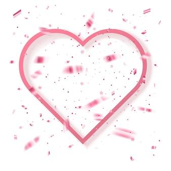 Cartão com glitter rosa de fundo de saudação do dia de valentins