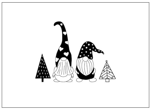 Cartão com gnomos desenhados à mão e árvores de natal