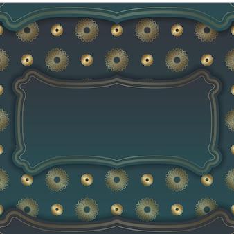 Cartão com gradiente de cor verde com ornamentos de ouro abstratos para a sua marca.