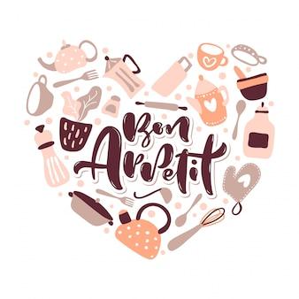 Cartão com letras de bon appetit