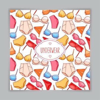 Cartão com linda roupa íntima feminina colorida e lugar para texto