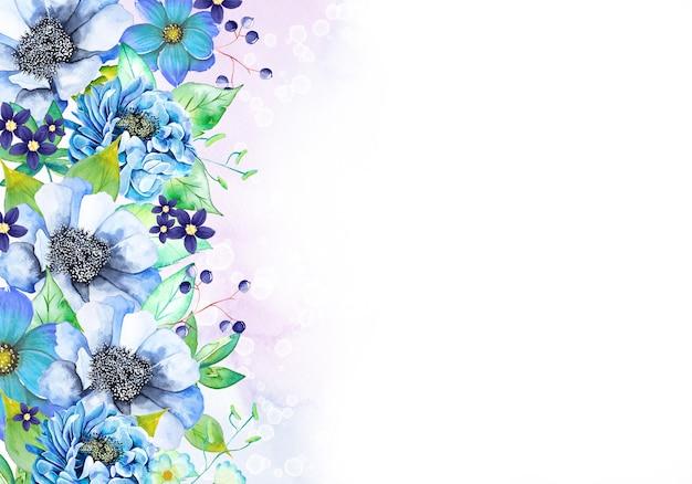 Cartão com lindas flores em aquarela
